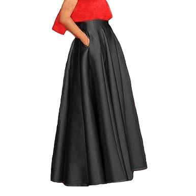 Lisong Floor Length Satin High Waist Prom Party Skirt For Women 2 US Black