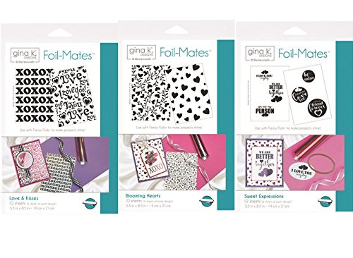 Foil-Mates - For use with Fancy Foils and Deco Foils - includes one each of Valentine's pattern sets Loves & Kisses, Blooming Hearts, and Sweet Expressions - 30 sheets total