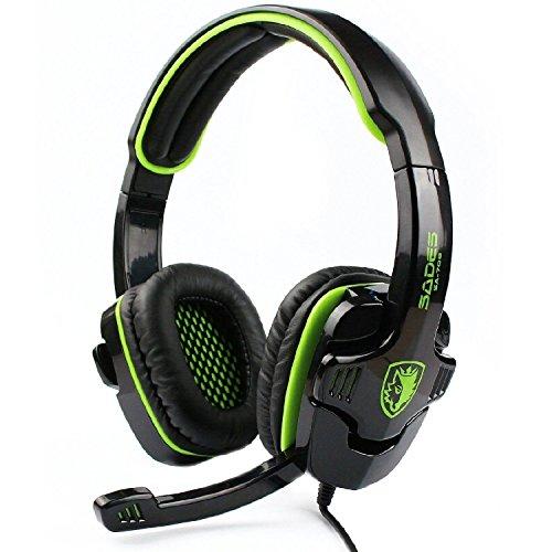 SADES SA-708 Wired Over-Ear-Kopfhörer 3,5 mm Audio Plug Gaming Headset Gaming Kopfhörer Ohrhörer mit Mikrofon-Grün