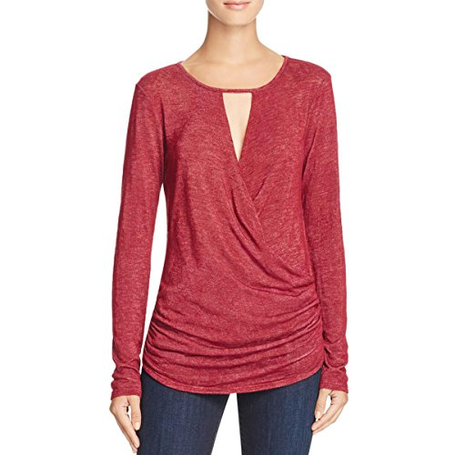 VELVET BY GRAHAM & SPENCER Womens Surplice Keyhole Casual Top Red L