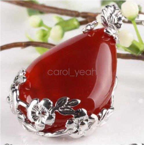 Natural orange red carnelian teardrop pendant inlaid alloy flower necklace (Red Carnelian Pendant)