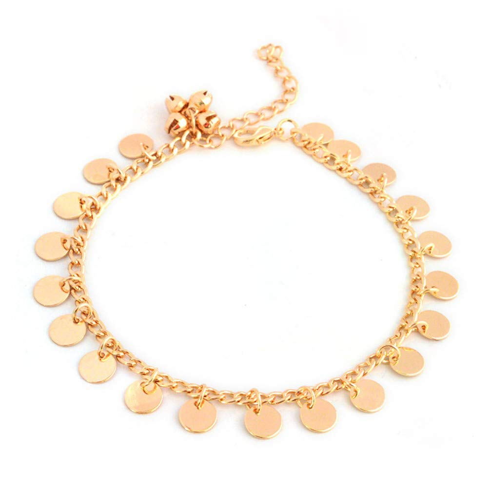 Myhouse Bohemian Tassel Retro Metal Round Bells Anklet Beach Barefoot Chain, Gold Color