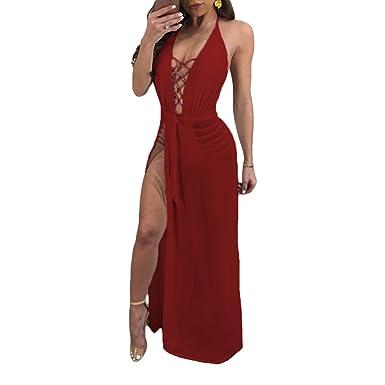 310a78e6013 Metup Women Halter Neck Sleeveless Bodycon Bodysuit with Split Sheer Maxi  Skirt Romper Dress Overlay Burgundy