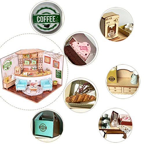 HITSAN Sweet Home Colombian Coffee House Room DIY Dollhouse Kit With LED Light Wood Decoration One Piece