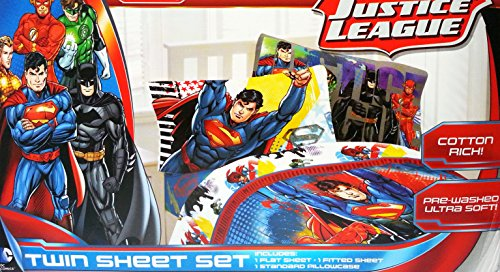 Franco Justice League Sheet Set with Reversible Pillowcase - Twi