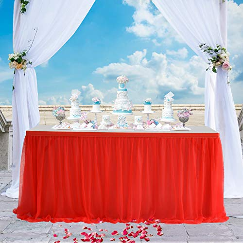 Red Tulle Table Skirt High-end Gold Brim 3
