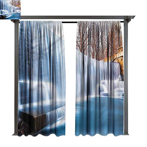 (cobeDecor UV Protectant Indoor Outdoor Curtain Panel Waterfall Victoria Falls Pastoral for Lawn & Garden, Water & Wind Proof W120 xL108)