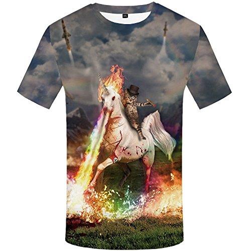 Sevem-D Mens Skull Head Skull Skeleton T Shirt Tops Flower Tshirt Funny 3D T-Shirt Men Hip Hop 3D t Shirt 01 XXL -