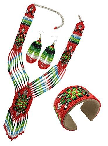 Handmade Seed Beaded Turtle Jewelry Set Necklace Earrings Bracelet - Jewelry Necklace Seeds Native