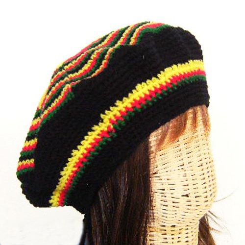 Rasta Reggae Tam Hat Hippy Beret cannabis Yellow&red Crochet Handmade - Crochet Tam Rasta