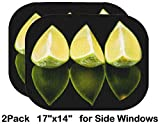 Liili Car Sun Shade for Side Rear Window Blocks UV Ray Sunlight Heat - Protect Baby and Pet - 2 Pack Lime Fruit on Black Mirror Isolated Image ID 39424564