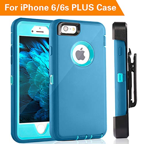 iPhone 6S Plus Case,FOGEEK Protective Case Heavy Duty Cover Compatible for iPhone 6 Plus & iPhone 6S Plus 5.5 inch 360 Degree Rotary Belt Clip & Kickstand(Tea Blue/Baby Blue)