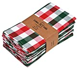 Urban Villa Dinner Napkins, Everyday Use,Premium Quality,100% Cotton, Set of 12, Size 20X20 Inch, Red/green/White Over sized Cloth Napkins with Mitered Corners, Ultra Soft, Durable Hotel Quality