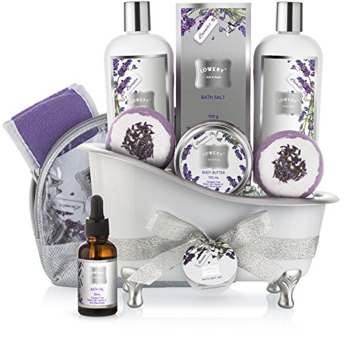 (Bath Gift Basket Set for Women: Relaxing at Home Spa Kit Scented with Lavender and Jasmine - Includes Large Bath Bombs, Salts, Shower Gel, Body Butter Lotion, Bath Oil, Bubble Bath, Loofah and More)