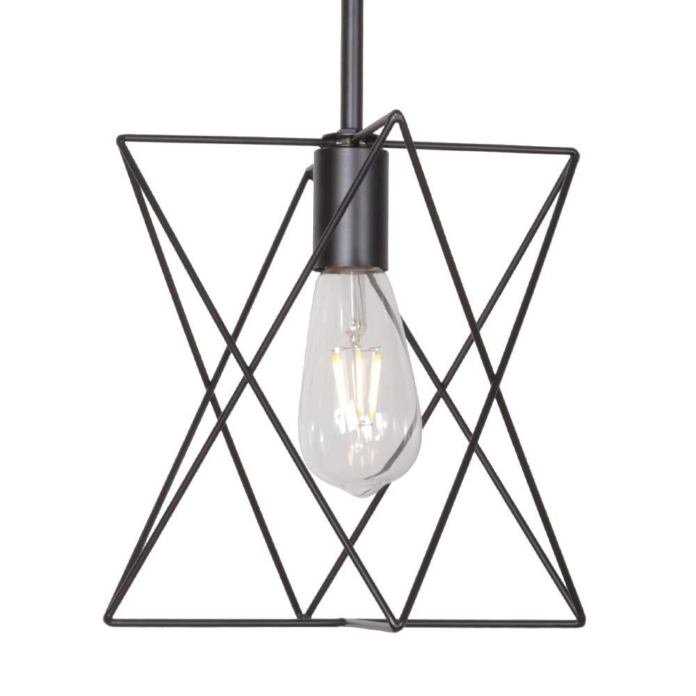 MELUCEE 1-Light Cage Pendant Lighting Metal Rod Shade Black, Farmhouse Light Fixtures Ceiling Hanging for Dining Room Kitchen Hallway Bedroom
