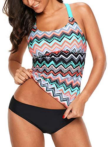 Angerella Womens Ladies Striped Print Racerback Bandeau Blouson Split Tankini Top Orange, XL