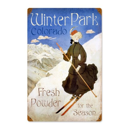 Ski Winter Park Advertisement Sport Vintage Metal Sign  Steel