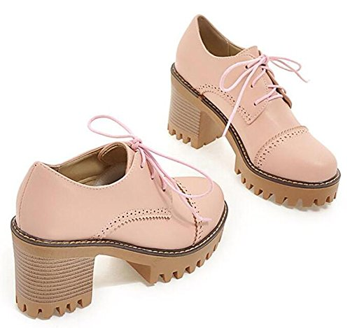 Easemax Womens Vintage Platform High Chunky Heels Lace Up Brogues Pumps Pink bAJsuxSX6