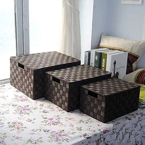 BZM-ZM リビングルーム、オフィス、バスルーム、ベッドルームのための蓋付き3枚織りストレージボックス防湿ストレージバスケット、
