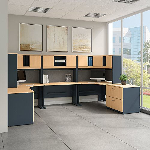 Bush Business Furniture Series A 2 Person Workstation with Corner Desks, Hutches and Storage in Beech and Slate