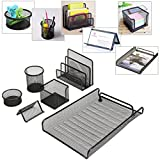 Caveen Desktop Organizer Office Supplies Office Documents Organizer Caddy (6 pcs),Pen Cup|Document Tray|Mail Sorter|Business Card Holder|Clip Cup|Sticky Note Holder