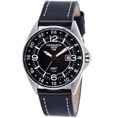 Torgoen - T25102 - Gents Watch - Analogue Quartz - Black Dial - Black / Beige Leather Strap