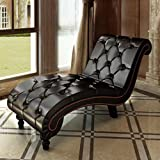 Cheap Brown Chaise Lounge Tufted With Button-Tufted Detailing And Stable Legs Chaise Lounge Chair A great Addition to Your Bedroom, Living Room or Hallway
