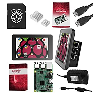 "Raspberry Pi 3 Ultimate Starter Kit – Complete Set Includes Raspberry Pi 3 Model B Motherboard, 7"" Touchscreen Display, Power Supply, 16GB SD Card, 2 Heatsinks, Official Case & 6ft HDMI Cable"