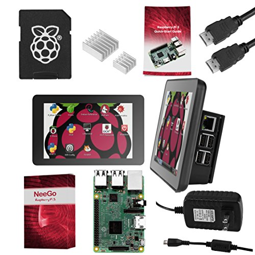 "Raspberry Pi 3 Ultimate Starter Kit – Complete Set Includes Raspberry Pi 3 Model B Motherboard, 7"" Touchscreen Display, Power Supply, 16GB SD Card, 2 Heatsinks, Official Case & 6ft HDMI Cable by NeeGo"