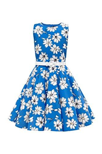 BlackButterfly Kids 'Audrey' Vintage Daisy 50's Girls Dress (Royal Blue, 9-10 yrs) by BlackButterfly