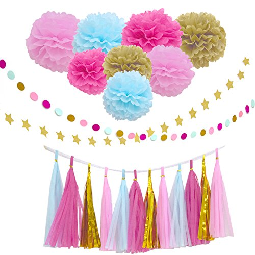 26Pcs Party Decoration Kit Rose Light Blue Pink Gold Tissue Paper Pom Poms Flower Tissue Paper Hanging Tassels Paper Garlands for Baby Shower Wedding Nursery Bridal Shower