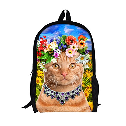 TOREEP Cute Colorful Cat Printed Girls Casual School Backpack(Small)