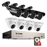 ZOSI 8-Channel HD-TVI FULL 1080P Home Surveillance Camera System,8 Channel 1080p 4-in-1 CCTV DVR Recorder 2TB Hard Drive and (8) HD 2.0MP 1920TVL Waterproof Bullet and Dome Security Cameras