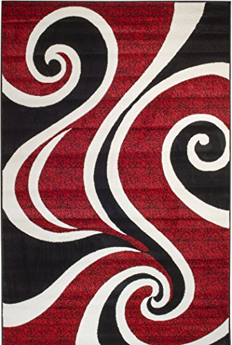Summit QB-PHN7-KS22 30 Red White Swirl Area Rug Modern Abstract Many Sizes Available , 22 inch x 7 foot hall way runner