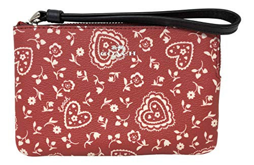 (Coach Coated Canvas Small Corner Zip Wristlet in Lace Heart Print Red)