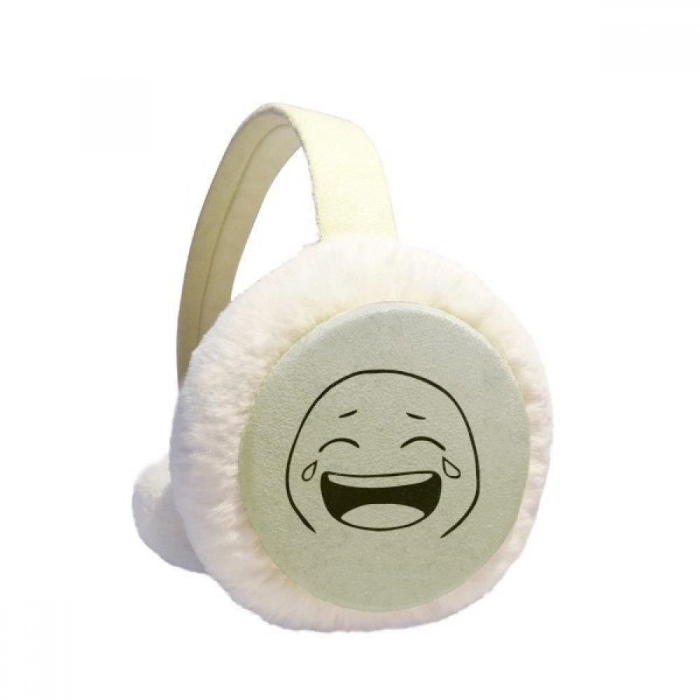 Laugh Cry Black Emoji Pattern Winter Earmuffs Ear Warmers Faux Fur Foldable Plush Outdoor Gift