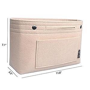 Handbag organizer,Felt Insert Purse Organizer Bag in Bag 10 Pockets Structure In Handbag Shaper with Handle (beige)