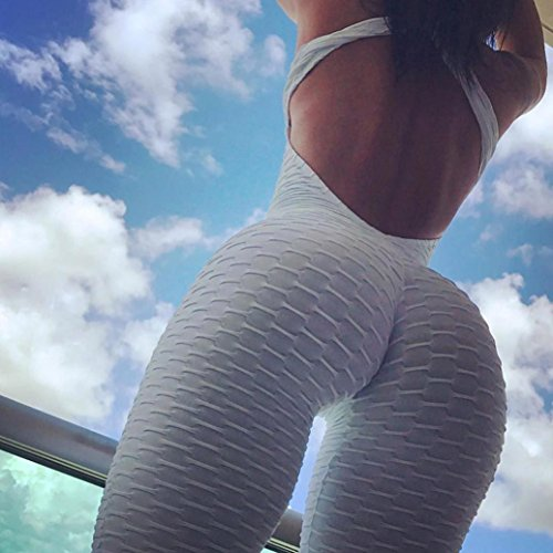Women Yoga Pants,Vanvler Ladies { Sexy Sport Jumpsuit } Running Fitness Workout Gym Trousers (XL, White) by Vanvler Women Yoga Pants (Image #9)
