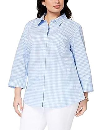 5405c52eea3dd Karen Scott Plus Size Cotton Printed Blouse (3X-Large) at Amazon ...