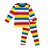 Enfants Cheris Little Girls Boys Thermal Underwear Long John Set Thermal Breathing Pajama Crewneck Top and Bottom 2PC Set, (Striped, 24M)