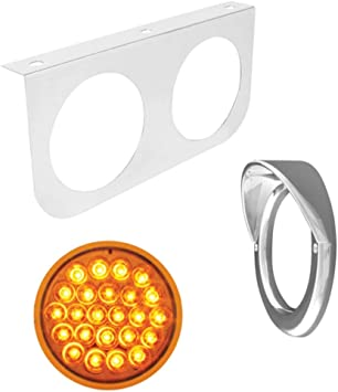 GG Grand General 89128 Plated L Bracket with 2-4 inches Pearl Amber//Clear LED Light and Chrome Plastic Rim