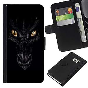 EJOY---La carpeta del tirón la caja de cuero de alta calidad de la PU Caso protector / Samsung Galaxy S6 EDGE / --Ojos Noche Negro Escalas Oro