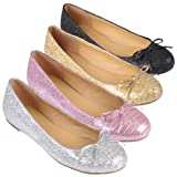 Journee Collection Womens Bow Accent Glitter Ballet Flats