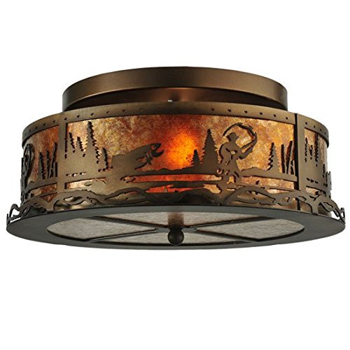 - Meyda Tiffany Custom Lighting 110647 Fly Fishing Creek 2-Light Flush Mount, Antique Copper Finish with Amber Mica Panels
