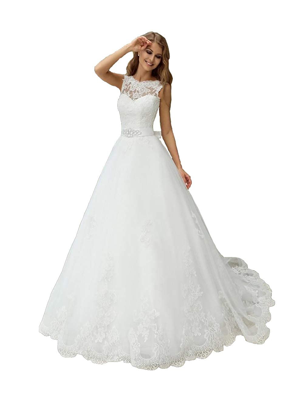 41b117d7892 Wedding Dresses Sleeveless Lace Applique Sweep Train White Backless Bridal  Gowns at Amazon Women s Clothing store