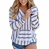 Han Shi Stripe Knitwear, Womens Koala pocket Cute Blouse Loose Long Sleeve Sweater Tops (L, Gray)