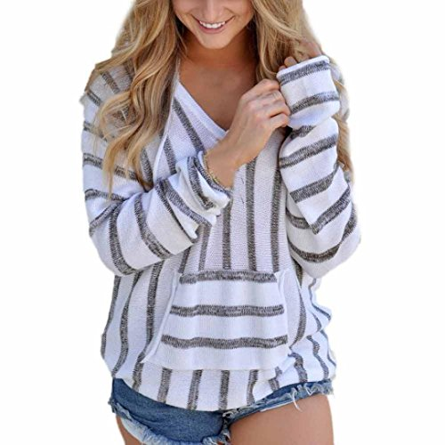Han Shi Stripe Knitwear, Womens Koala pocket Cute Blouse Loose Long Sleeve Sweater Tops (XL, Gray)