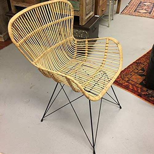 (Mohr and McPherson Rattan Occasional Wing-Back Armchair from Indonesia with Iron Metal Base )