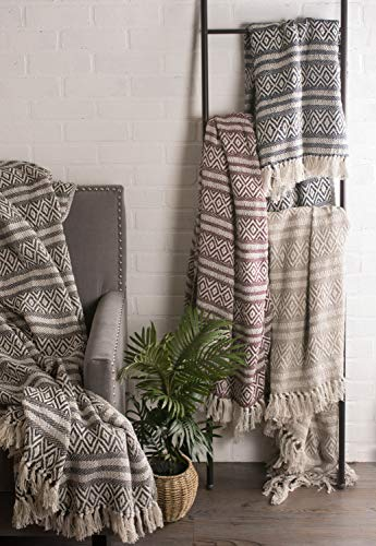 Bedroom DII Rustic Farmhouse Cotton Adobe Stripe Blanket Throw with Fringe For Chair, Couch, Picnic, Camping, Beach, & Everyday… farmhouse blankets and throws