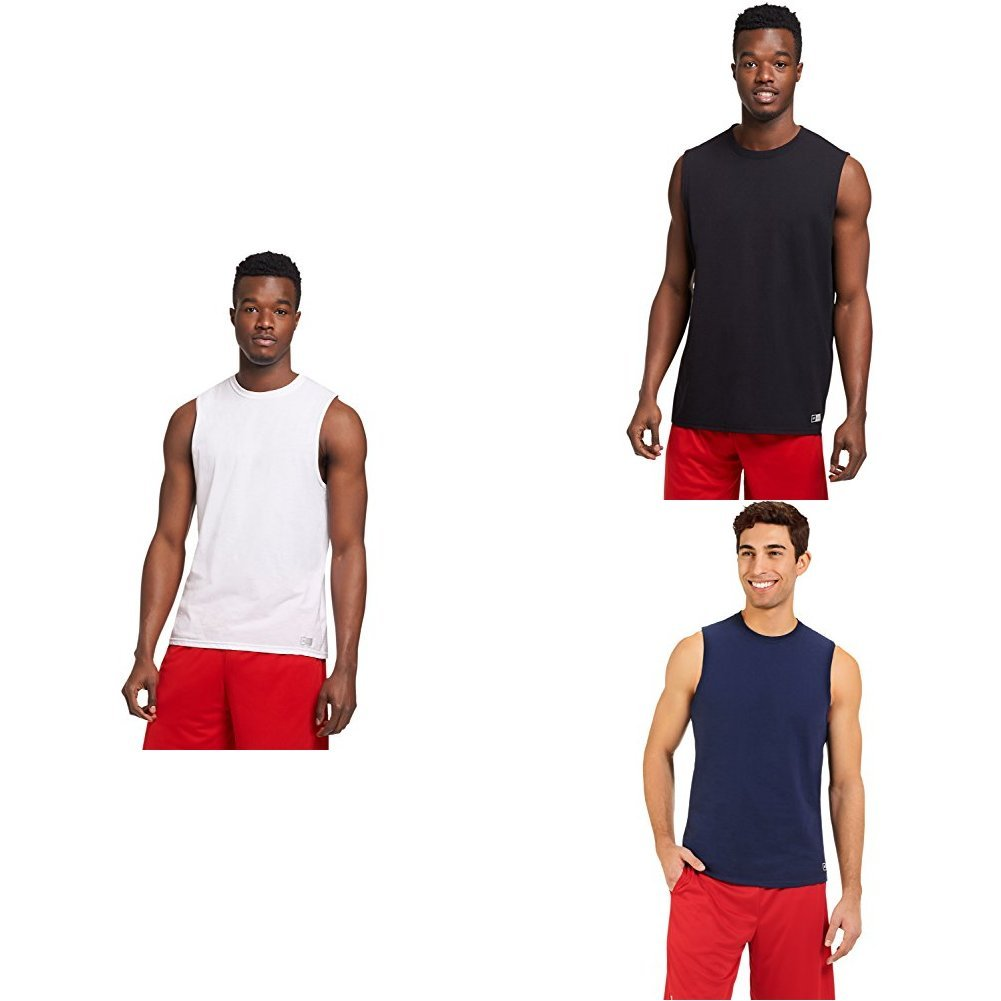 Russell Athletic Men's Essential Muscle T-Shirt, White/Black/Navy, Large